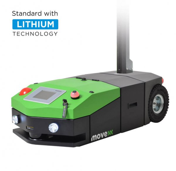 The AGV1000 automated guided vehicle electric tug with lithium label