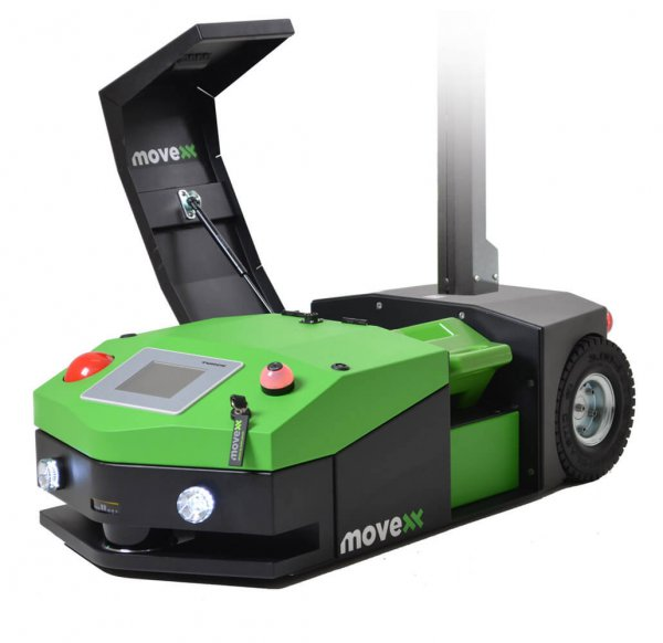 The AGV1000 Automated Guided Vehicle with the battery cover open